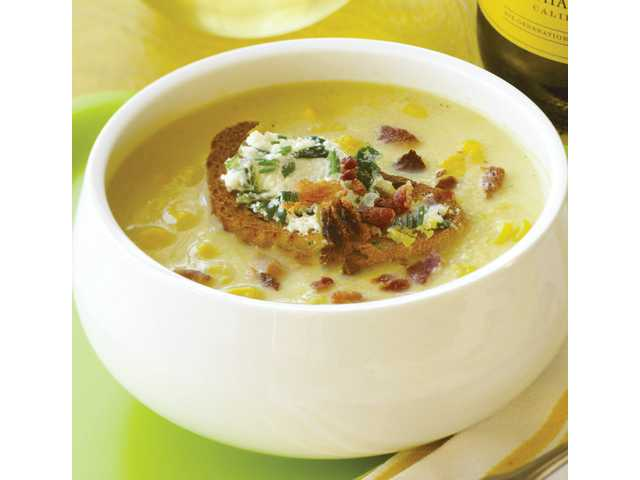 Creamy corn soup with bacon toasts