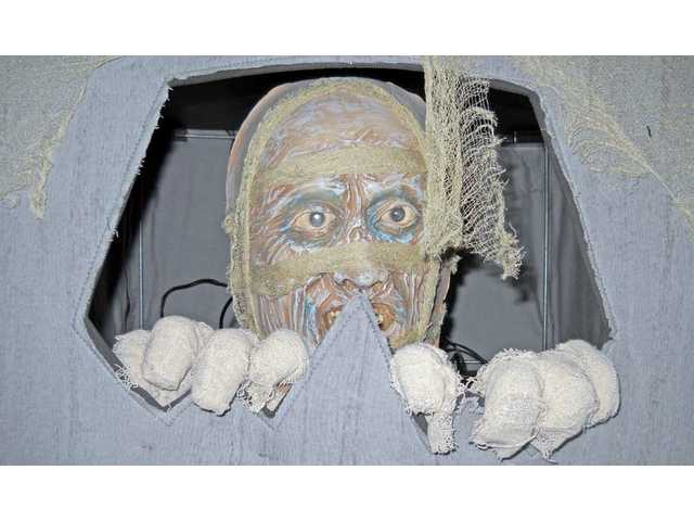 The mummy in a coffin is one of the many props sold at the Spirit Halloween store at 23036 Soledad Canyon Road in Santa Clarita. The store sells Halloween costumes and accessories and features an interactive theater for shoppers.