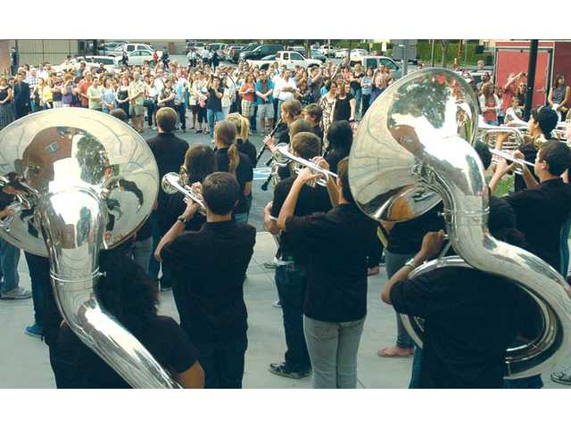 Hart High School band plays the school's fight song Wednesday at Hart High in Newhall at a ribbon-cutting ceremony to celebrate the opening of the new wing of Thornton Hall during Back-to-School Night.