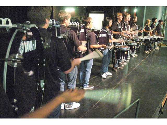 The Hart High drum line performs for the audience gathered at Wednesday's ceremony.