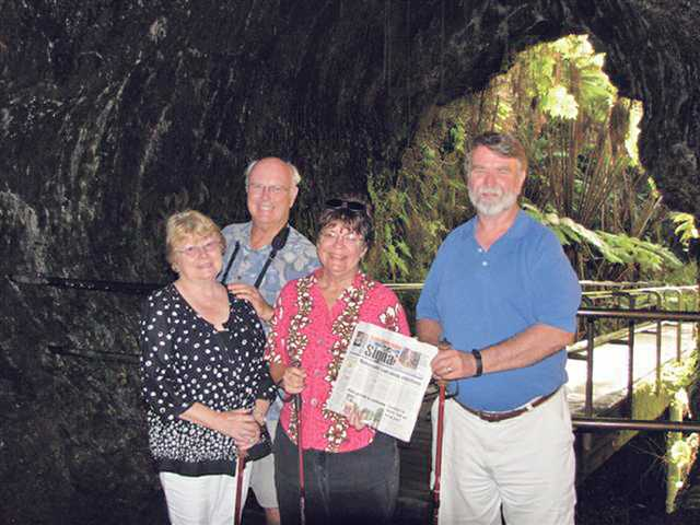 From left, Carole Wheeler, Jeff Wheeler, Pam Trammell and Don Trammell enjoyed seeing the volcanic scenery and lava flow at the Thurston Lava Tube in Hawaii during a recent trip.