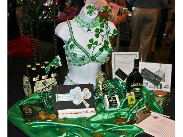 Cute and colorful pairings at Bras for a Cause included the clever, Irish-themed 'Mardi Bra' decorated by Kathy Rutherford. The bra sets were a highlight of the event, which also featured music, food and wine.