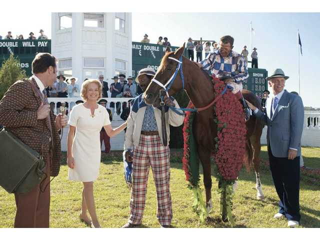 "From second left, Diane Lane, Nelsan Ellis, Otto Thorwarth and John Malkovich  in ""Secretariat."""