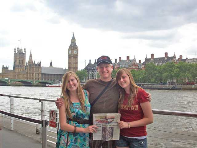 On their trip to London, England, from left to right, Danielle, Jeffery and Chelsea Best stand at the edge of the Thames River with the Big Ben clock tower in the background.