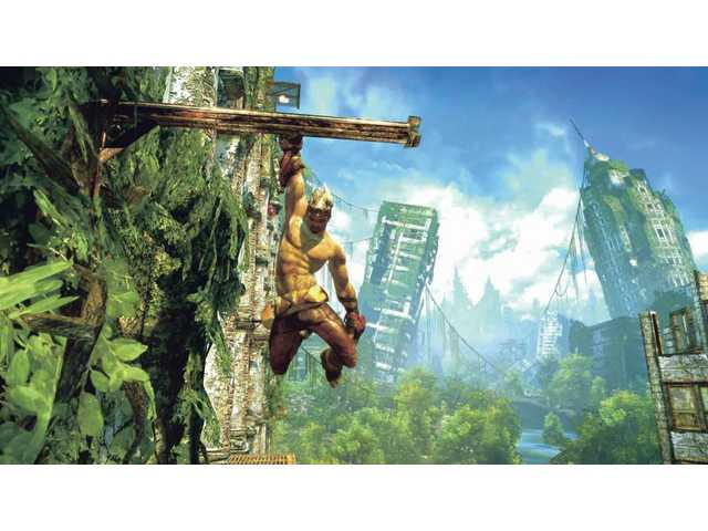 "A man named Monkey climbs the skyscrapers of an abandoned New York City in a scene from the new ""Enslaved: Odyssey to the West."""