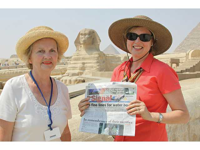 Jane McNamara, right, and her mother, Nancy Ehrman, of Valencia, took a trip in September with The Signal to Great Sphinx of Giza in Egypt. The Sphinx is one of the world's largest statues.