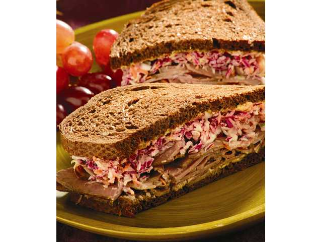 Roast beef and southern sweet coleslaw sandwich