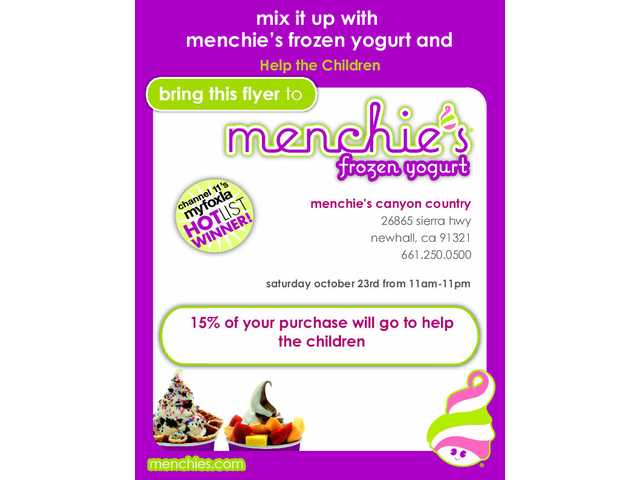Menchie's Frozen Yogurt will host a fundraiser for Help the Children on Saturday, Oct. 23.