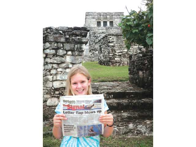 Allison Schepper, 12, took The Signal to Riviera May, Mexico, during her fall break earlier this month. Allison wanted to do one of her sixth-grade reports on the Mayan ruins, and did some of her research by visiting the ruins of Tulum.