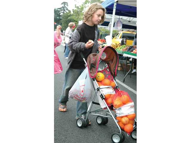 Jacob Weber, 9, pushes a cartful of fruit through the market Thursday in Newhall. Despite cooler weather, the Newhall marketplace attracted hundreds of visitors Thursday.