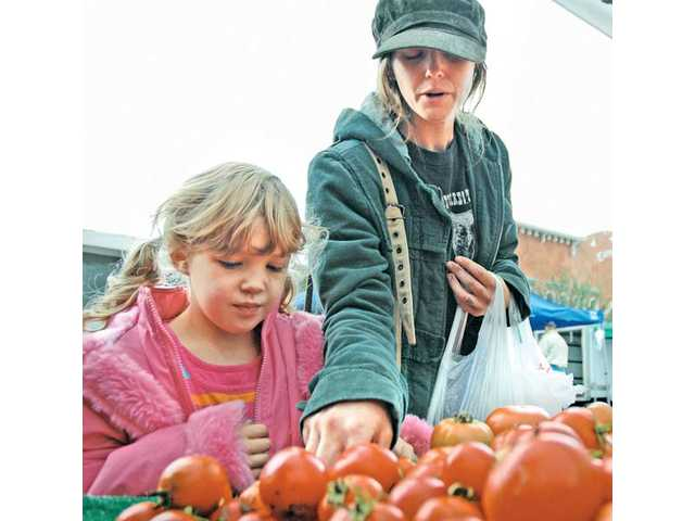 Jennifer Weber, 28, and her daughter Rosie, 6, pick out produce at the farmers market Thursday.