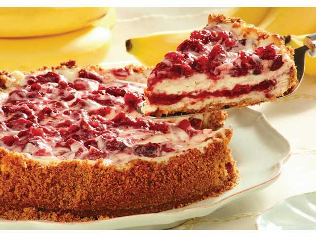 Holiday cranberry-banana cheesecake