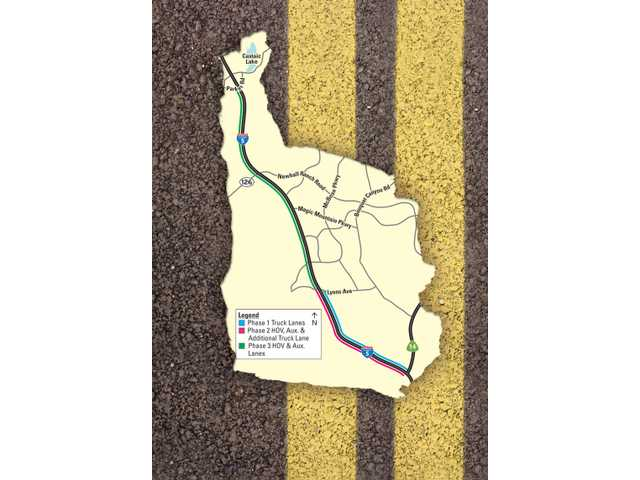 This map highlights the three phases of the Interstate 5 Gateway Improvement Project. The $500-million project will two truck lanes and a high-occupancy-vehicle lane both southbound and northbound on I-5 from the Highway 14 interchange north to Parker Road. Construction is not likely to start for more than a year.