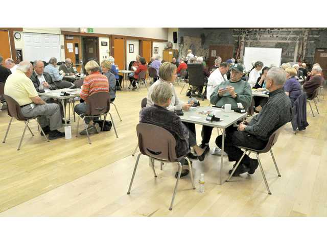 Players in the Senior Bridge Club meet at the Santa Clarita Valley Senior Center in Newhall on Tuesday.