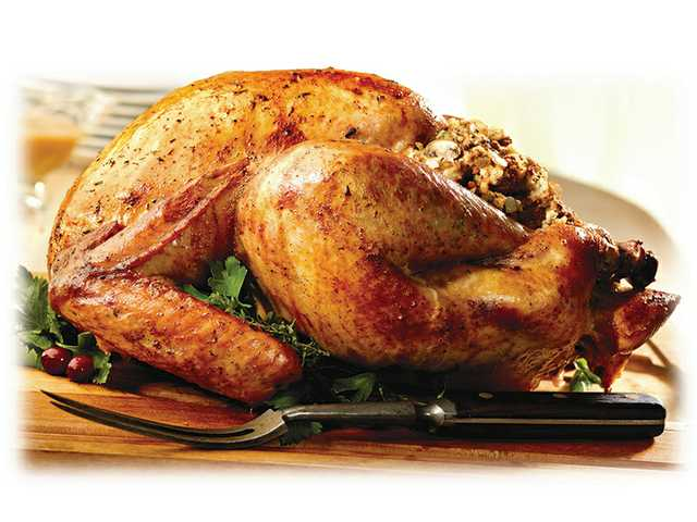 Roast turkey with mushroom stuffing