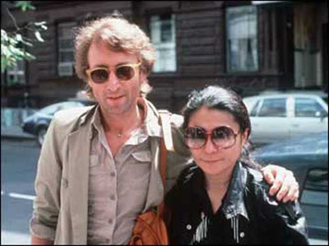 3089ba266ad John Lennon and Yoko Ono arrive at the Hit Factory recording studios in  midtown Manhattan on ...
