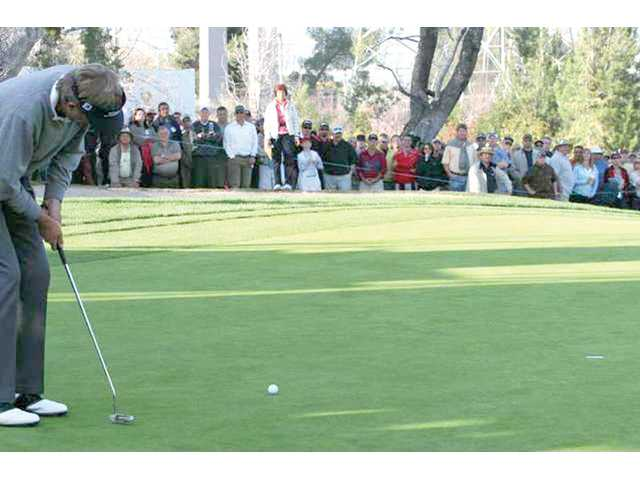 Dan Forsman putts for a birdie in a playoff round against Don Pooley, winning the AT&T Champions Classic at Valencia Country Club in the March 2009 championship hosted by the city of Santa Clarita. Large-draw events in Santa Clarita — like the AT&T Classic — can generate millions of dollars in revenue thanks to tourists.