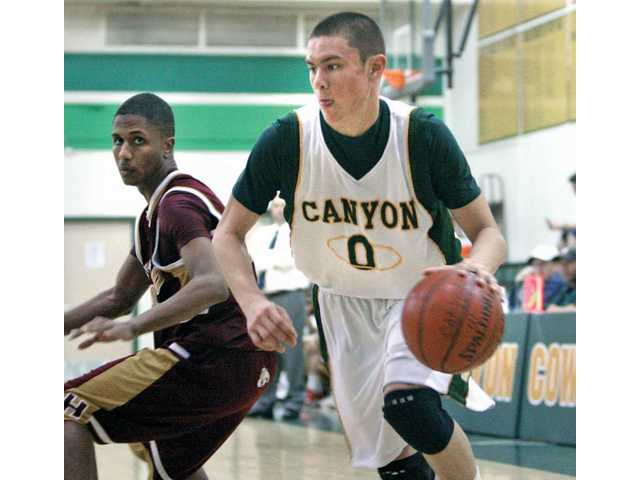 Canyon's Coley Apsay (0) dribbles past Highland's Milan Harrell on Friday during the Canyon Classic at Canyon High.