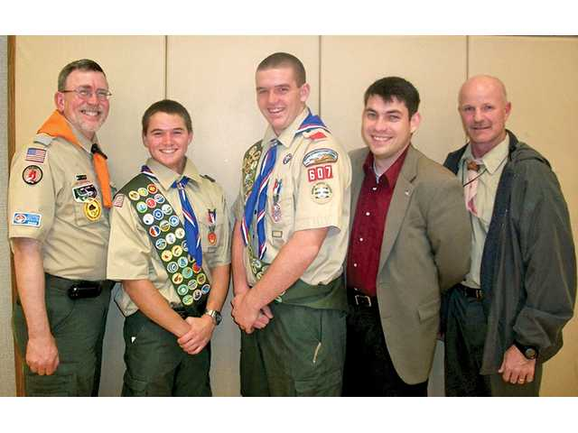 "Left to right, Mark Murphy, Bill Hart BSA District chairman; new Eagle Scouts Kel Valentine and Spencer Lindsay; Brett Walter, field representative for U.S. Rep. Howard ""Buck"" McKeon; and Brandon Black, LDS Church Santa Clarita Stake Young Men's president."