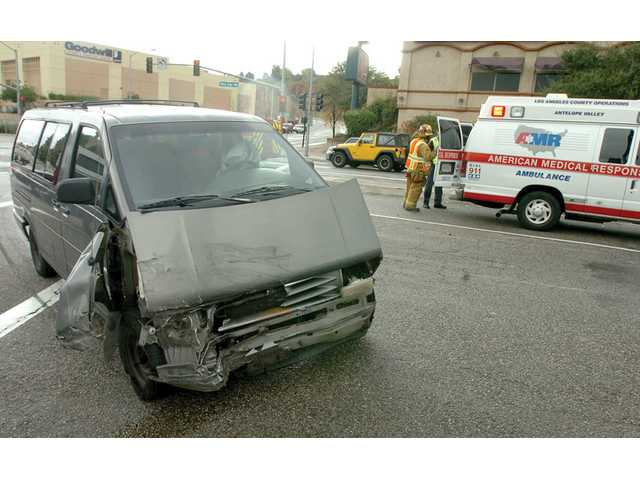 A Ford Aerostar van and an AT&T utility van collided near the intersection of The Old Road and Pico Canyon Road in Stevenson Ranch about 10:40 a.m. Wednesday, according to Los Angeles County Fire Department officials. Passengers in the two vehicles were not injured, officials said.