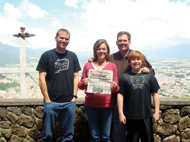 The Sayer family, from left to right, Adam, 22, Mimi, Kevin and Max, 12, did some sightseeing in Quetzaltenango, Guatemala in August. The family was there to pick up Adam, who had just finished his two-year mission for the Church of Jesus Christ of Latter-day Saints.