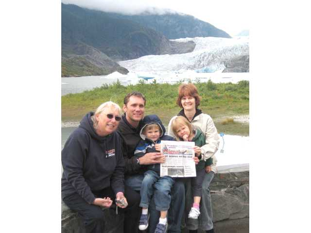 The Hoffman family, from left, Margie, Brian, Zachary, Julina and Jaci, enjoy the view of the Mendenhall Glacier near Juneau, Alaska, during a weeklong Princess cruise in August.