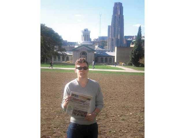Lachlan McKinney, a 2008 Valencia High School graduate, holds The Signal on campus at Carnegie Mellon University in Pittsburgh, Pa., where he is a sophomore.