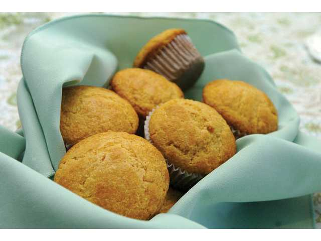 Eggnog cornbread can be made in a 12-muffin tin for convenient individual servings.