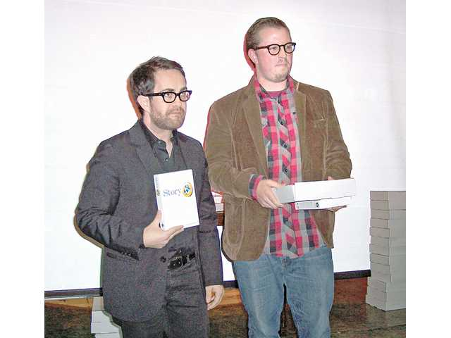 From left to right, Whit Herford and Ryan Darst accepted the Independent Spirit Award at the sixth annual Santa Clarita Valley Film Festival. They took home film software for capturing the award.