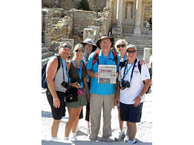 From left, Michael Collins, Darlene Krupa, Beth and Jeff Hyde, and Dana and Ed Hill visit the library square in ancient Ephesus, near the port of Kusadasi, Turkey, as part of a 12-day cruise on the Ruby Princess. The ship stopped at 10 ports across the Mediterranean.