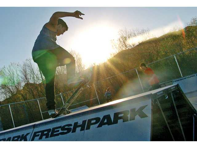 Stephen Rosas, 18, balances on a ramp at the new skate park at the Castaic Sports Complex on Tuesday.