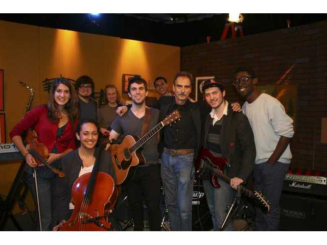 "John Stratton and The Johnny Strat Band debut four new songs on ""House Blend"" with host Stephen K. Peeples, airing on SCVTV Saturday, Feb. 12 at 10 p.m. From left: Kelsey Kepple (violin); Keani Kahuhu (cello); Corey Waters (keyboards); Daniel Roberts (bass); Stratton; Zach Hogan (drums); Peeples; Nick Kline (guitar); and Charles Black (rap vocals)."