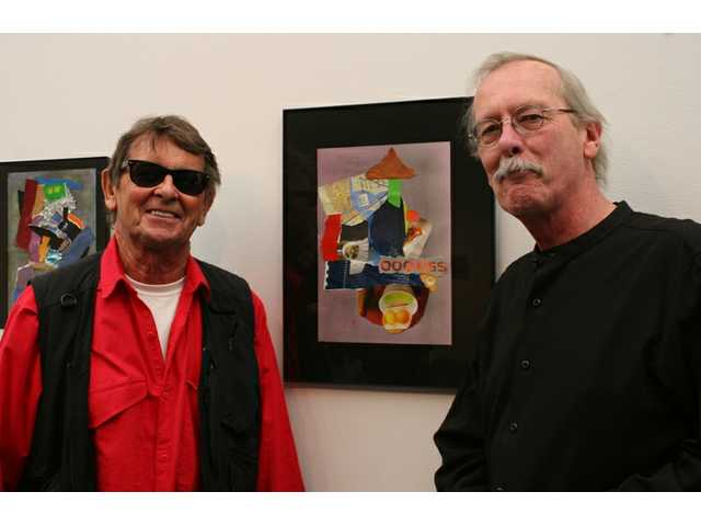 "Celebrated multi-media artist Bob Neuwirth (left) was invited to exhibit a collection of his works at the COC Art Gallery by the gallery's director, Larry Hurst, and was special geuest at an artist's reception at the gallery Saturday afternoon. ""Bob Neuwirth: Collages"" shows at the gallery through March 3."