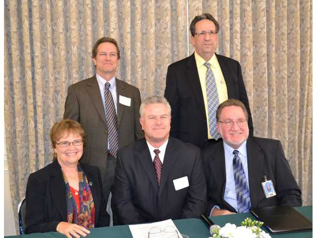 The Principal for a Day luncheon featured a panel of five local district superintendents. Top row, left to right: Marc Winger, Newhall School District; Robert Nolet, Sulphur Springs School District. Seated, left to right: Judy Fish, Saugus School District; Robert Challinor, Hart School District; James Gibson, Castaic School District.