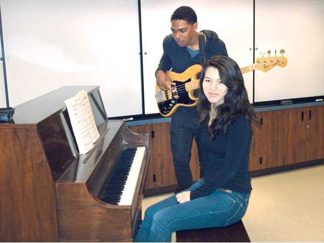 West Ranch High School students Rachel Cantrell, front, and Brandon Canada have been chosen as members of the Southern California School Band and Orchestra Association's Jazz All-Stars.