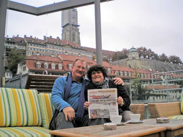Gary and Lisa Brynjegard enjoy a cappuccino while reading The Signal at an outdoor cafe in Bern, Switzerland, on Oct. 10, 2010. To celebrate their 25th anniversary, the couple visited France, Switzerland, Italy and England.