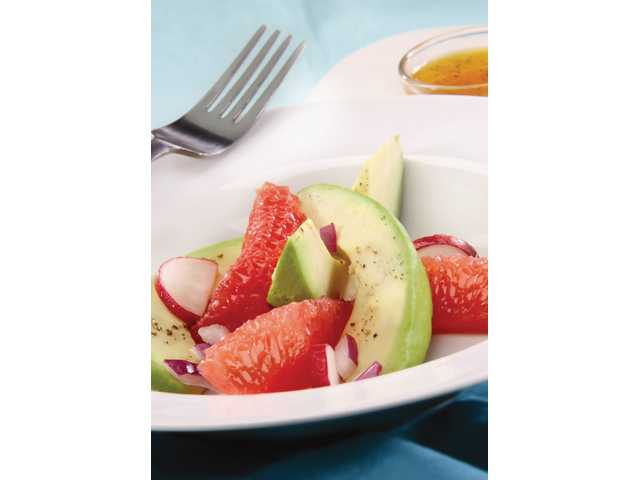 Fresh grapefruit, avocado and radish salad