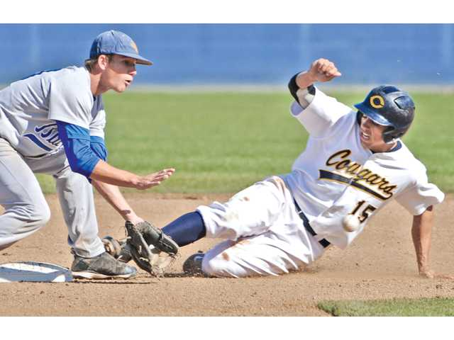 College of the Canyons' Jeremy Weber (15) steals second base as Hancock's Austin Nyman takes the throw on Thursday at College of the Canyons.