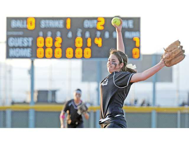 Golden Valley pitcher Sydney Herrera throws a pitch on Friday at Golden Valley High, The Grizzlies lost 8-0.