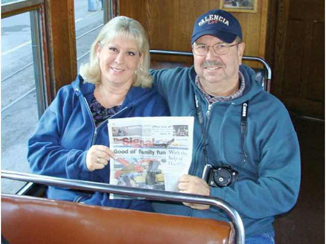 Rowena Spencer, of Newhall, and Jim Wilson, of Santa Clarita, travel with a copy of The Signal to Egypt to visit the Great Pyramids on Thanksgiving Day in 2010. The Great Pyramid of Giza, the biggest pyramid of the three, is one of the Seven Wonders of the Ancient World, and the only one that is still standing today. The Great Sphinx of Giza also sits near the three pyramids. The pyramids are about 20 miles from Cairo, the capital of Egypt. Hosni Mubarak, former leader of the nation, resigned recently after weeks of protest in a Cairo city square.