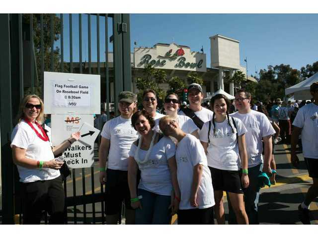 Saugus, Calif. resident Karla Posner (left), her daughter Samantha (front, white lei) and members of their family joined 5,000-6,000 Southern Californians at the Rose Bowl for the April 2009 Walk MS. Karla and Samantha battle multiple sclerosis. The Posners will participate in 2011 Walk MS events in Pasadena and the Antelope Valley in April.