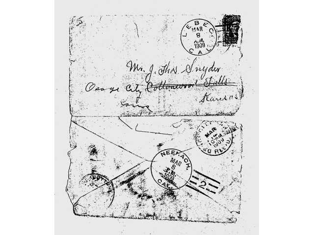 Images of the original envelope postmarked from Lebec in 1909 to the wife of J.B. Snyder.