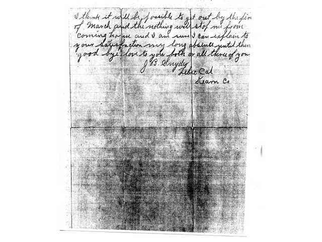 Images of the original handwritten letter postmarked a month from the date of origin. In the letter, Snyder explains to his wife and son that he is snowbound in the mountains near Lebec. However, after the letter was delivered to his wife in Kansas, J.B. Snyder was never heard from by his family again. Local historians have tried to determine Snyder's fate but have only uncovered more questions.