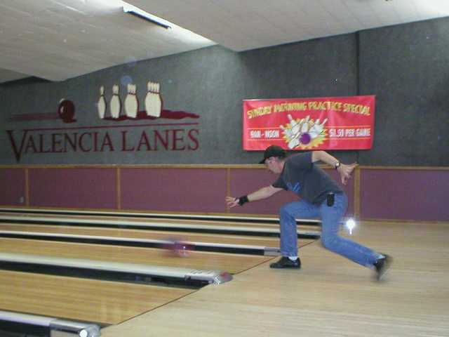 Bruce Bingham bowls for Pleasantview at Valencia Lanes.