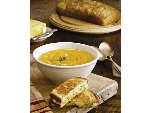 Brown soda bread, roasted root vegetable soup and cheese toasties
