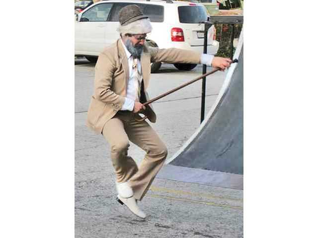 Rabbi Choni Marozov shows off his dancing moves at Chabad of SCV's Purim Party last year.
