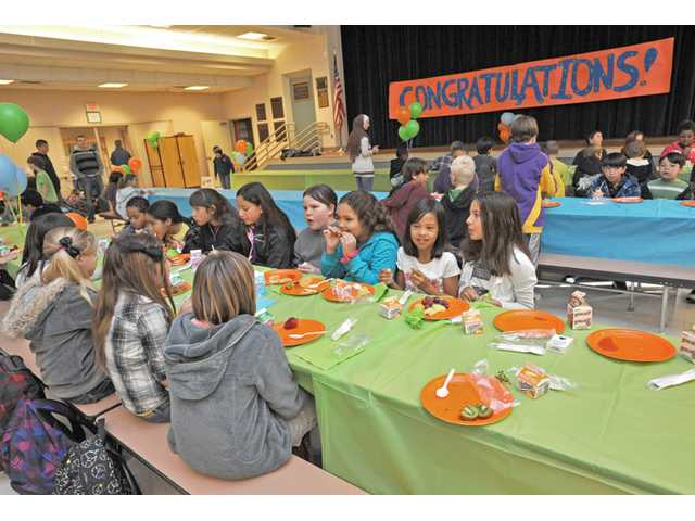 Fourth- to sixth-grade students who met their accelerated reading goal were rewarded Friday with a pancake breakfast at Sulphur Springs Community School in Canyon Country.