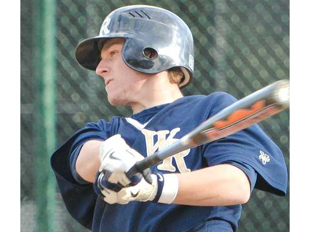 West Ranch's Josh Heinz hits an RBI double in the sixth inning against Canyon on Tuesday at Canyon High School.
