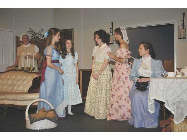 "Some of the women of ""Little Women"" at the Canyon Theatre Guild. From left to right, Jane Arnett as Hannah, Tyler Joy Bannerman as Beth, Justine Kelly as Amy, Sandra Kate Burck as Jo, Charissa Wilson as Meg, and Gin Treadwell-Eng as Marmee (Mrs. March). Not shown is Patti Finley as Aunt March."