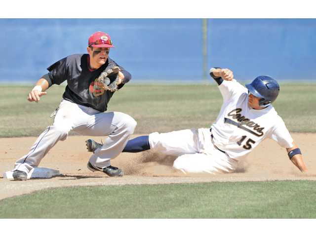 College of the Canyons' Jeremy Weber (15) slides into second base as Glendale's Sako Chapjian goes to apply a tag on Tuesday at COC.